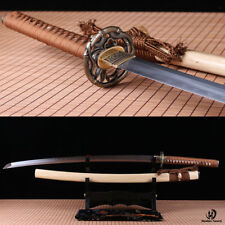 hand forged clay tempered folded steel Japanese Samurai Sword Katana sharpened.