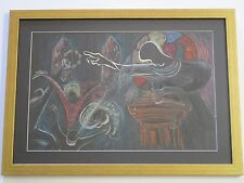 VINTAGE BLACK AMERICANA PAINTING MODERNISM ABSTRACT EXPRESSIONISM CHURCH  SPIRIT