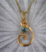 BLUE TOPAZ  GEMSTONE PENDANT  NECKLACE 14kt ROLLED GOLD  WIRE WRAPPED