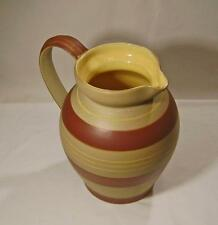 Large Vintage Pottery Jug with Coloured Band Decoration - Hand Thrown