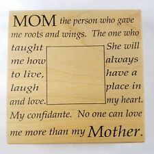 Mother Rubber Stamp Mothers Day Frame Mom Wood Mounted