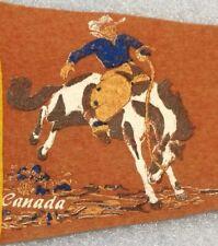 """Banff Alberta Canada Vintage 1950-60's 21"""" Felt Pennant W Cowboy Scene"""