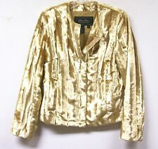 Terry Lewis Faux Fur Broadtail Jacket Lined Gold $159.90 Sz XS Runs Large