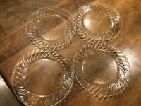 "Set of 4 - Vitro Corning Clear Glass Ribbed Plates 10"" Dinner Excellent"
