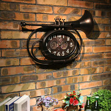 """22.8"""" Retro Style French Horn Horologe Wall Clock Bar Room Ornament Iron Art"""