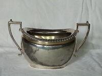 Silver plate vintage Victorian antique ribbed sugar bowl