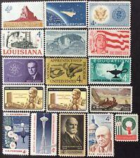 1962 Commemorative singles, Scott #1191-1207, MNH, F-VF