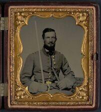 Photo Civil War Confederate Captain David Thompson In Uniform Holding Sword