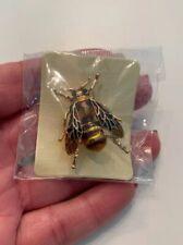 NIP Yellow Brown Enamel Bee,Insect,Bug Brooch Pin Gold Tone