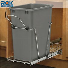 SILVER MOLDED PLASTIC OFFICE HOME KITCHEN TRASH CAN GARBAGE REPLACEMENT BIN