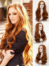 """US 24"""" Handtied Long Wavy Curly Lace Front Wig Auburn Party Heat Safe Fiber Hair"""