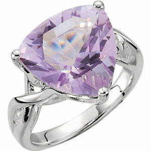 Trillion Rose de France Amethyst Ring In Sterling Silver