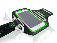 "Universal Smartphones 4.7"" Green Lycra Armband Sports Reflective Headphone Tie"