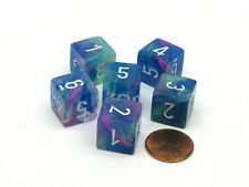 Festive 15mm 6-Sided D6 Numbered Chessex Dice, 6 Pieces - Waterlily with White