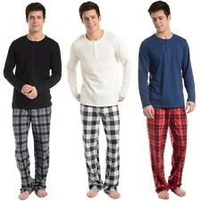 2pc Cherokee Men's Pajama Set Henley Top & Micro Fleece Pants Drawstring PJs