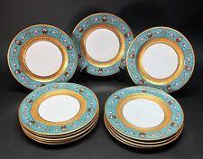 Fine Set of 12 BLACK KNIGHT Dinner Plates w/ Gilt & Blue Floral Design