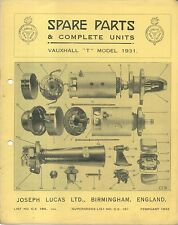 Vauxhall T Model 1931 Lucas CAV Rotax illustrated Spare Parts List No. CE 18A