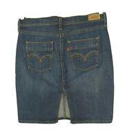 Levis Denim Pencil Skirt Women Size 4 Dark Wash Blue Back Slit Studded Pocket