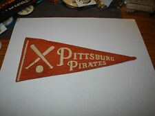 "1930's Baseball Felt Team Pennant Banner 8"" x 4"" Pittsburgh Pirates Pie Traynor"
