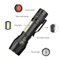 LED Torch USB Rechargeable Flashlight Zoom Camping Hiking Light Lamp Mini 4 Mode