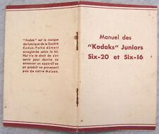 """Manuel des """"KODAKS"""" Juniors Six-20 et Six-16 TBE 40 pages 1930/40"""