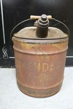 "5 GAL CAN ""KENDALL The 2000 Mile Oil""- WOOD HANDLE / SPOUT With Lid All Original"