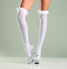 7cd7d4536 sexy BE WICKED sheer GARTER lace RUFFLED ruffles TOP thigh HIGHS nylon  STOCKINGS