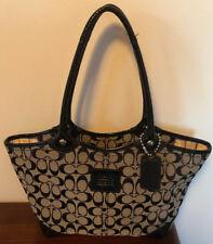 Authentic Coach Bleecker Signature Jacquard Patent Leather Tote Bag (Black)