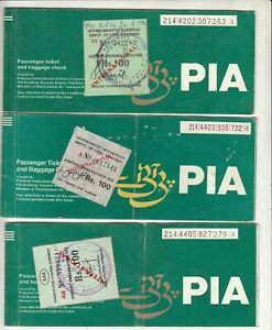 PAKISTAN PIA LOT OF 3  AIRLINES PASSENGER TICKET WITH THREE REVENUE TAX STAMPS