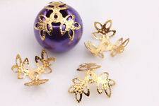 Lots Gold Silver Plated Filigree Flower Hollow Flower End Beads Caps Charms DIY