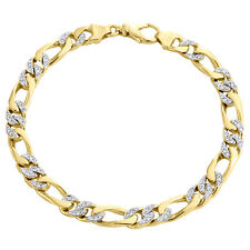 "Figaro Link Bracelet 8.50"" | 0.94 Ct. 10K Yellow Gold 6.50mm Handset Diamond 3D"