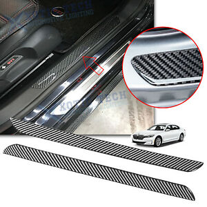 For BMW 3 Series Carbon Fiber Door Scuff Sill Plate Panel Protector Guard Trim