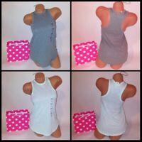 Victoria Secret PINK Tank Top XS Sleeveless High Neck Solid Sleepwear Mint Gray