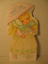 Vintage Sweet Girl Walking Doll Birthday Greeting Card, 1979 American, Unused