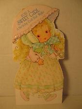 Vintage Sweet Girl Walking Doll Birthday Greeting Card, 1979 American, Unused