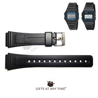 Replacement Watch Strap For Casio F91 & F105 - Black Resin. (RG7) FREE DELIVERY.