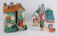 Spooky Pumpkin & Ghosts Halloween Houses - Set Of 2  - Ceramic