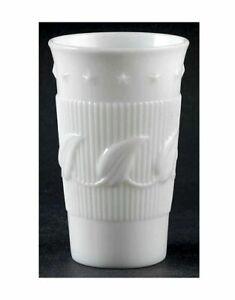"""SIX Vintage Fostoria Wistar Betsy Ross Milk Glass Flat Iced Tea Tumblers 5 1/4"""""""
