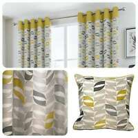 Fusion COPELAND Ochre Geometric 100% Cotton Eyelet Curtains & Cushions