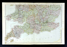 1883 Weller Map - England Wales London Cornwall Birmingham Cardiff Great Britain