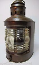 Antique Brass Nautical Lamp Triplex Pat 1910 ornate rib bubble glass boat ship