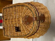 Vintage Fish Creel Basket Leather Wicker Fishing Cabin Decor Camp Collectible