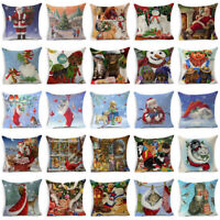 Christmas Cotton Linen Pillow Case Sofa Throw Cushion Cover Home Decor Xmas Gift