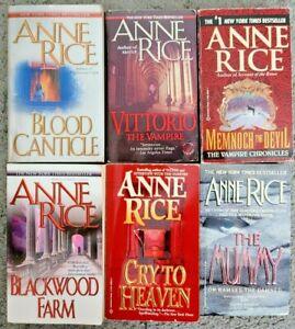 ANNE RICE 6 BOOK LOT HORROR SUSPENSE PAPERBACK 6 NOVELS ASSRTD TITLES FREE SHIP