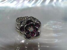 Estate Dark Purple Layered Dimensional Flower Silvertone Stretch Band Ring – top