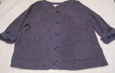 Fashion Bug Heavy knit Sweater 22-24W blue/gray 2 pockets 100% Acrylic GUC