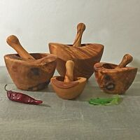 Mortar and Pestle Olive Wood in S - XL / Wooden Mortar Set, rustic, handmade