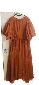 H&M Wide Dress XL Rust Orange With Under Slip