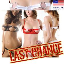 2Pc Ring Cutout Bralette Bra+ Panty Set Cupless Thong Lingerie Underwear USA
