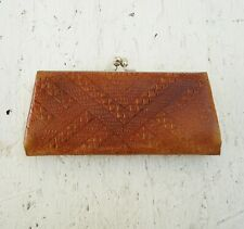 Vintage leather glasses case - Embossed leather purse - Baltic brown reticule
